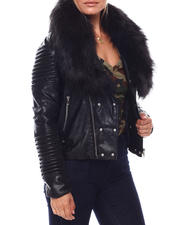 Going-Out-Outfits - Ladies PU Biker Jacket With Matching Faux Fur Lined Collar-2703124