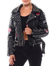 Women - Ladies PU Biker Jacket With Embellishment & Multi-Color Graffiti Print-2703160
