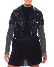 Women - Faux Leather Jacket W/Mesh Sleeve-2702947
