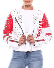 Women - Ladies PU Biker Jacket With Embellishment & Multi-Color Graffiti Print-2703142