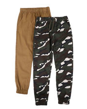 Arcade Styles - 2 Pack Camo & Solid Twill Jogger Pants (8-18)-2696520