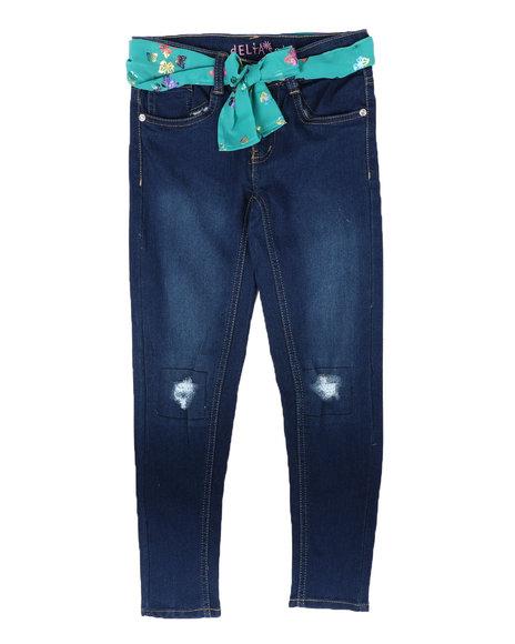Delia's Girl - Rip & Repair Knee Jeans W/ Sash Belt (7-16)