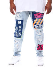 SMOKE RISE - Distressed & Patched Paint Splatter Jeans (B&T)-2702760