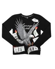 Tops - Rhinestone Eagle Money Long Sleeve Tee (8-20)-2702927