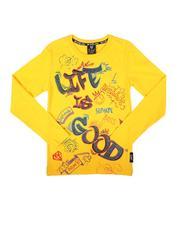 Tops - Life is Good Long Sleeve Tee W/ Rhinestones (8-20)-2702912