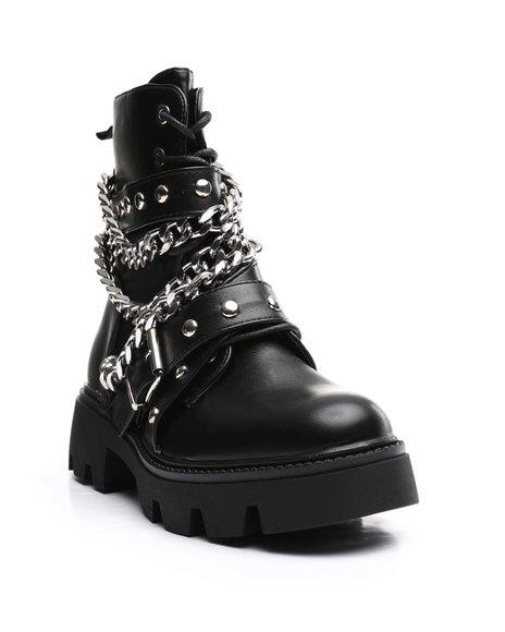 Fashion Lab - Lace Up Multi Chain Moto Platform Boots