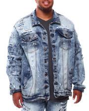 Big & Tall Faves - Broken Down Biker Denim Jacket (B&T)-2702812
