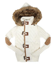Sizes 2T-4T - Toddler - Removable Faux Fur Trim Hood Toggle Sweater (2-12)-2704207