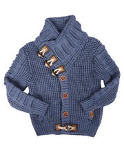 Sizes 2T-4T - Toddler - Asymmetric Toggle Ribbed Button Up Sweater (2-12)-2704214