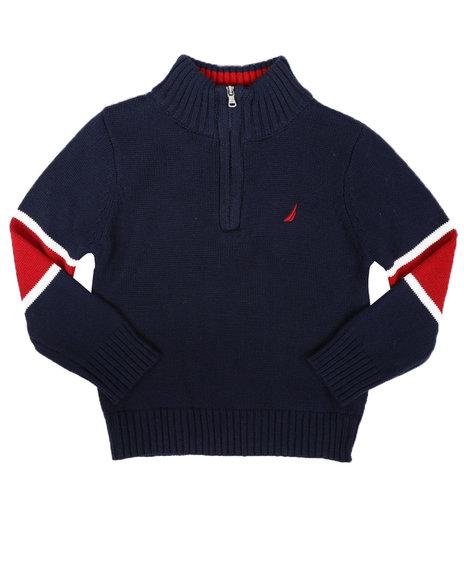 Nautica - Sleeve Stripe Half Zip Sweater (2T-4T)