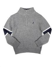 Sizes 2T-4T - Toddler - Sleeve Stripe Half Zip Sweater (2T-4T)-2704225