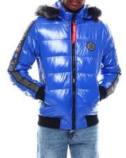 Heavy Coats - Glazed Nylon Puffer Jacket w Faux Fur Hood Detail-2705360