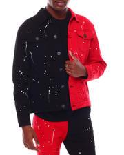 Denim Jackets - Bi Color Denim Jacket w Paint Splatter-2703979