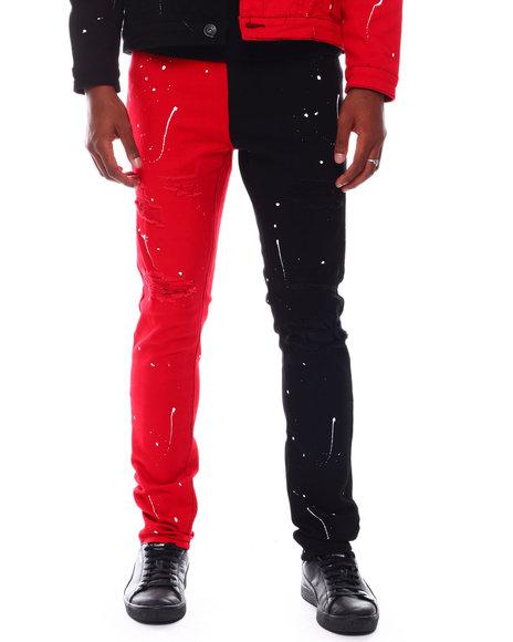 Buyers Picks - Distressed Bi Color Jean w Paint Splatter