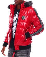 Heavy Coats - Glazed Nylon Puffer Jacket w Faux Fur Hood Detail-2705331