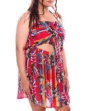 Fashion Lab - Cut Out Front Floral Print Dress (Plus)-2696175