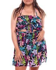 Fashion Lab - Cut Out Front Floral Print Dress (Plus)-2696179
