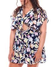 Fashion Lab - Floral Tie Front Cut Out A-Line Dress (Plus)-2696228
