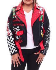 Fashion Lab - Color Block Biker Jacket W/Studs Prints ( Plus )-2702846