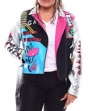 Fashion Lab - Color Block Biker Jacket W/Studs Prints (Plus)-2702859