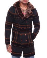 Heavy Coats - Long Plaid Dbl Breast Knit Peak Lapel Coat w Removable Faux Fur-2706000