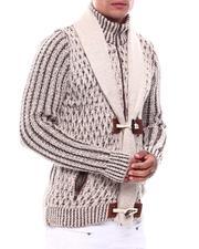 Sweaters - Shawl Collar w Zip bib Toggle Sweater-2704772
