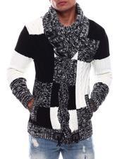 Sweaters - Buffalo Plaid Shawl Collar Sweater-2705934