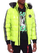 Outerwear - Glazed Nylon Puffer Jacket w Faux Fur Hood Detail-2707613