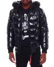 Outerwear - Glazed Nylon Puffer Jacket w Faux Fur Hood Detail-2707627