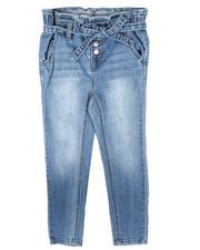 La Galleria - Paperbag Waist Denim Jeans W/ Self Belt (4-6X)-2708130