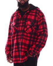 Button-downs - Polar Fleece Plaid Button Down Hooded Shirt (B&T)-2707942
