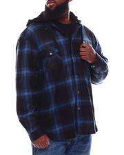 Button-downs - Polar Fleece Plaid Button Down Hooded Shirt (B&T)-2707946