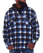 Button-downs - Polar Fleece Plaid Button Down Hooded Shirt (B&T)-2707950