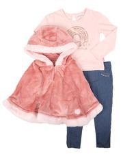 Girls - 3 Pc Faux Fur Trim Hooded Poncho, Long Sleeve Top & Knit Denim Leggings Set (2T-4T)-2709872