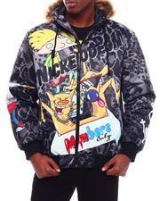 Outerwear - LEOPARD SNORKEL Puffer Jacket w Faux Fur Hood-2709840