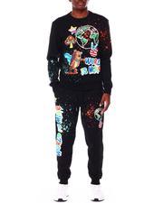 Men - World Is Mine Graphic Fleece Crew Neck & Jogger Set-2711470