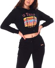Women - French Terry Crop Hoodie Multi Technique Printing Glitter Rhinestone Sequences-2703299