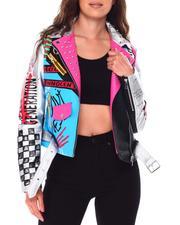 Women - Color Block Biker Jacket W/Studs Prints-2705266
