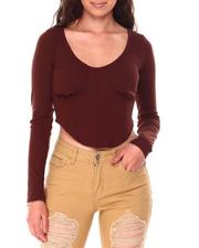 Women - Long Sleeve Corset Waist Top-2708538