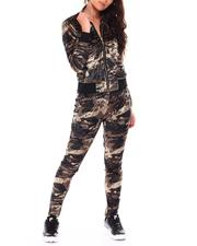 Women - Span Velvet Olive Camo Track Suit-2711601