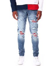 Men - Ripped Jean with Pu Ribbing Patch Detail-2712151