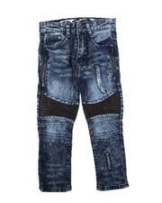 Bottoms - Rip & Repair Zipper Detail & PU Moto Panel Jeans (4-7)-2712389