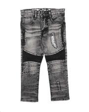Bottoms - Rip & Repair Zipper Detail & PU Moto Panel Jeans (4-7)-2712405