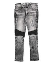 Jeans - Rip & Repair Zipper Detail & PU Moto Panel Jeans (8-18)-2712410
