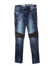 Jeans - Rip & Repair Zipper Detail & PU Moto Panel Jeans (8-18)-2712394
